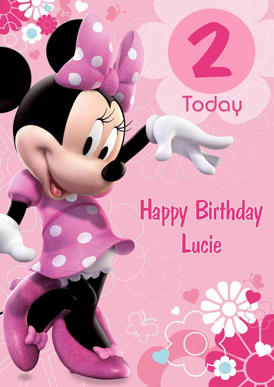 Personalised Minnie Mouse Birthday Card PINK – Minnie Mouse Birthday Card