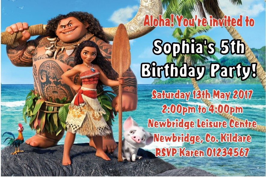 Personalised Moana Invitations