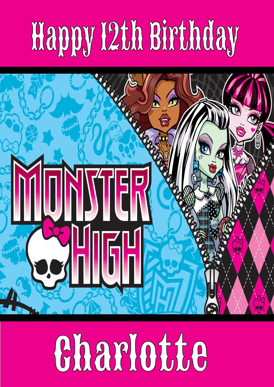 personalised monster high birthday card design, Birthday card