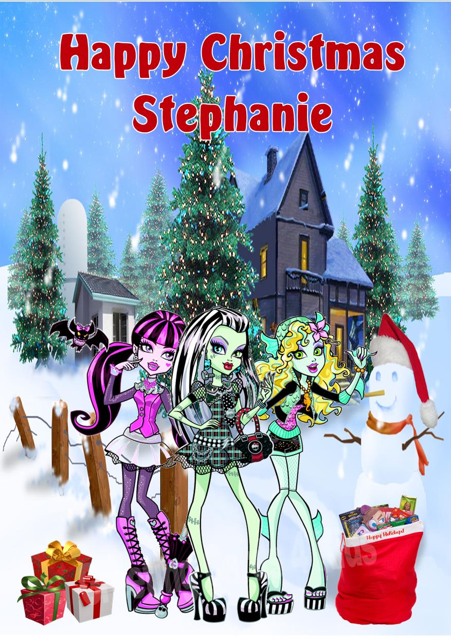 Personalised Monster High Christmas Card Design 1