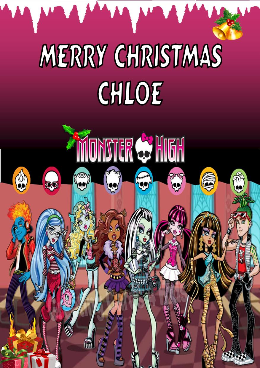 Personalised Monster High Christmas Card Design 2