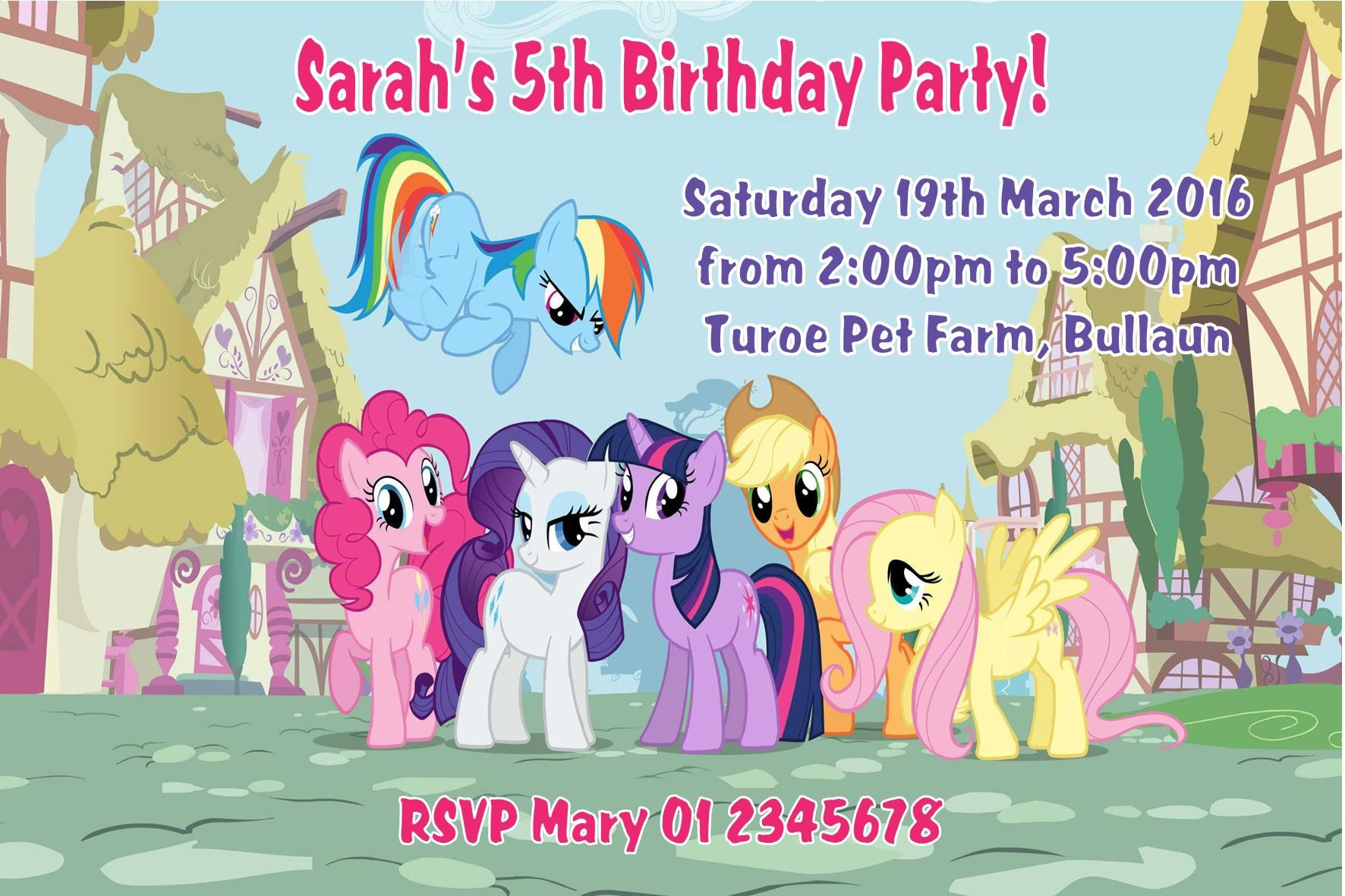 Personalised My Little Pony Invitations
