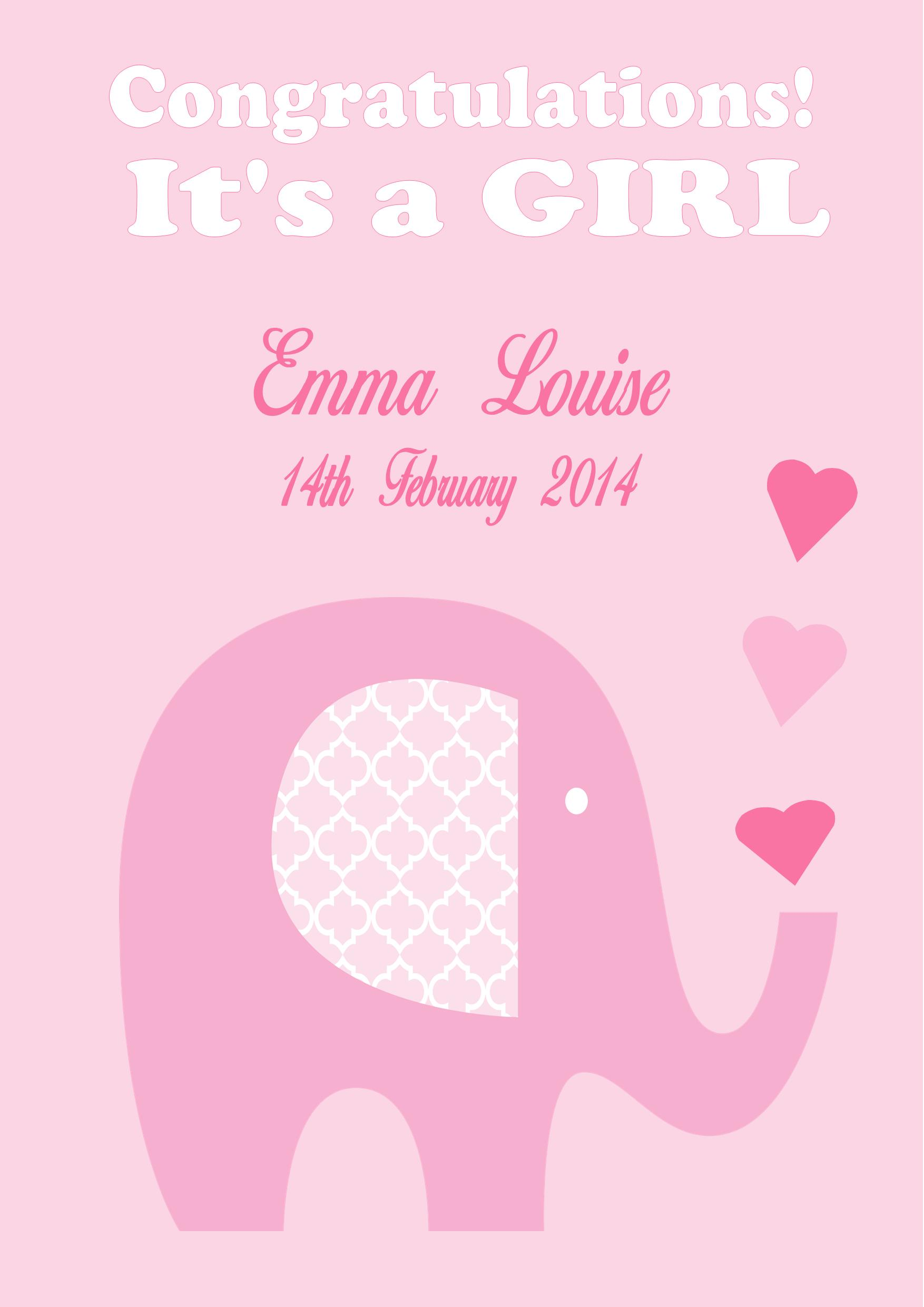 personalised new baby girl card design 1 - New Born Baby Card