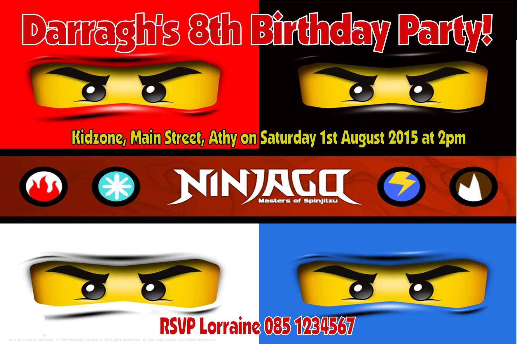 Personalised Ninjago Invitations