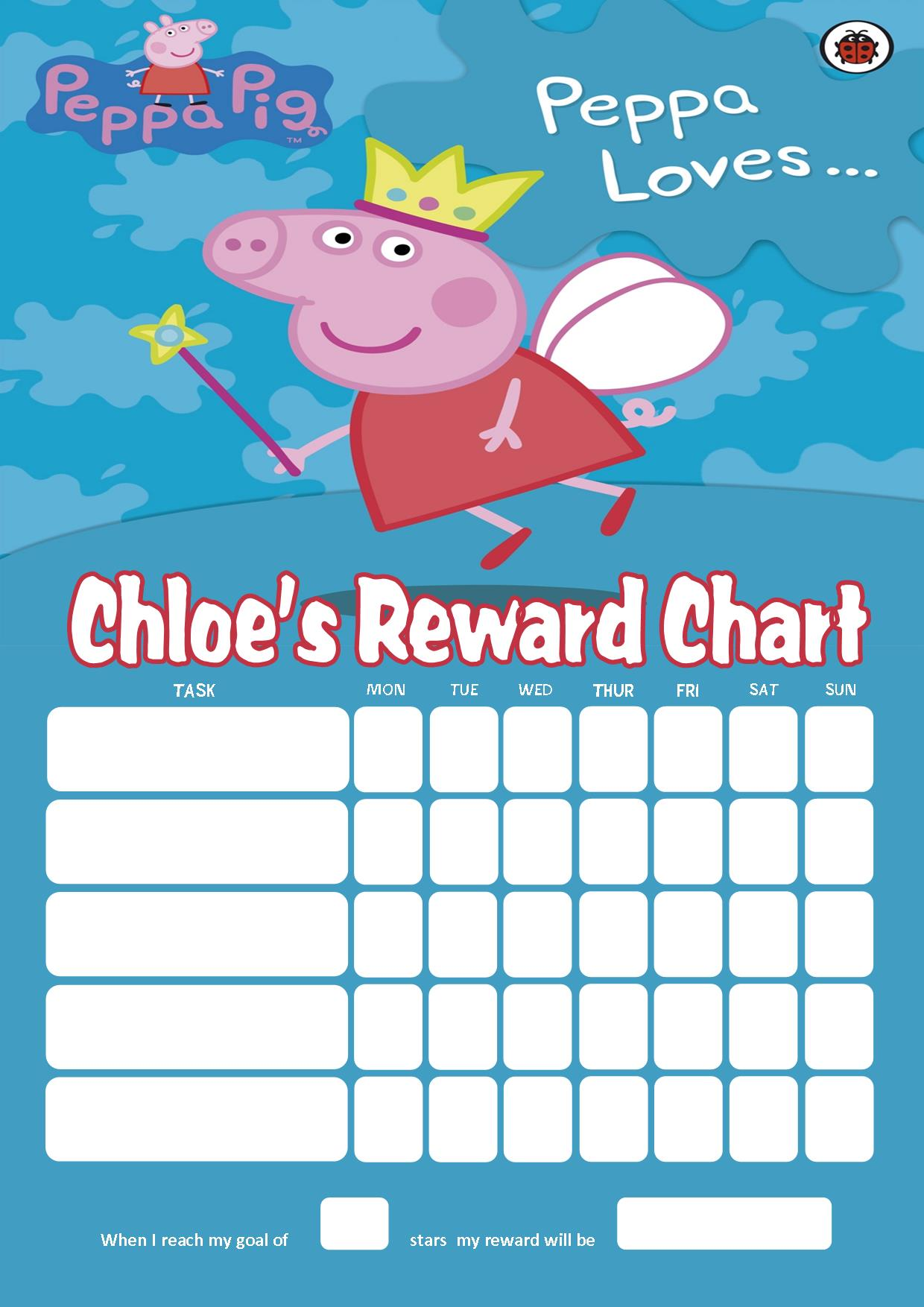 Personalised Peppa Pig Reward Chart (adding photo option available): www.greetingcards4kids.com/personalised-peppa-pig-reward-chart...