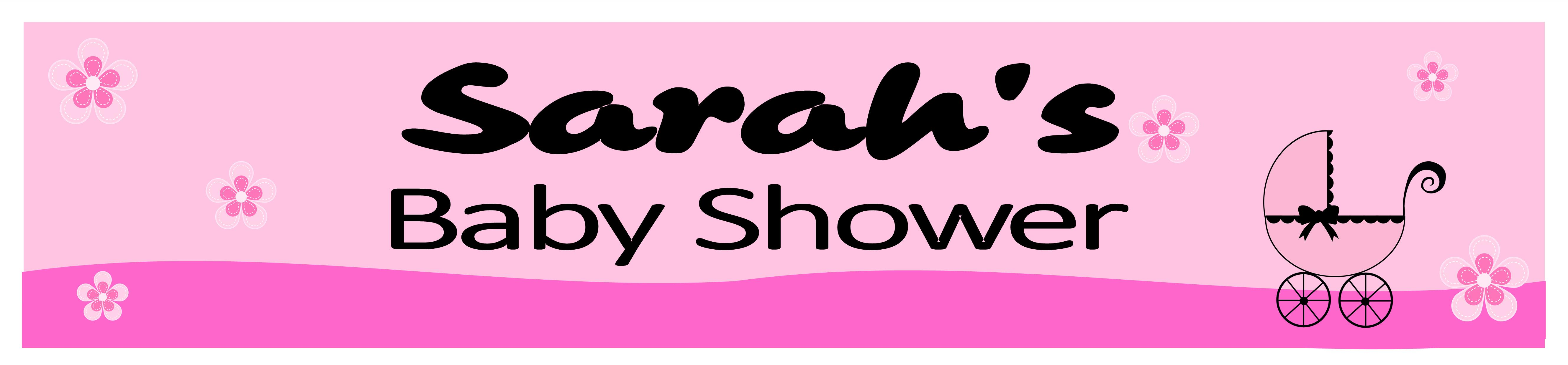 personalised pink baby shower banner design 1