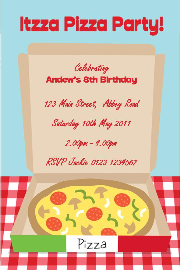 personalised pizza party invitations, Party invitations