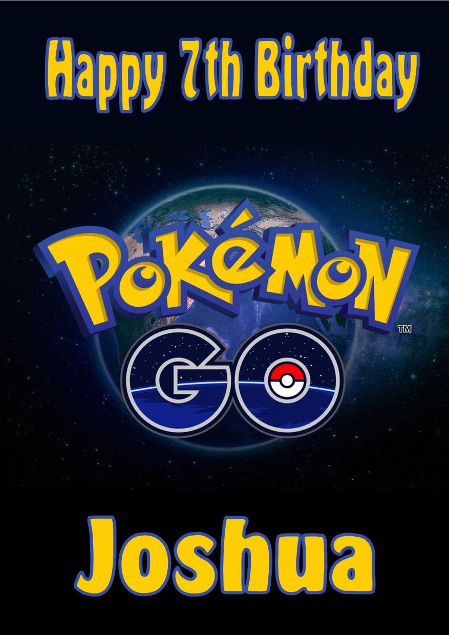 personalised pokemon go birthday card, Birthday card