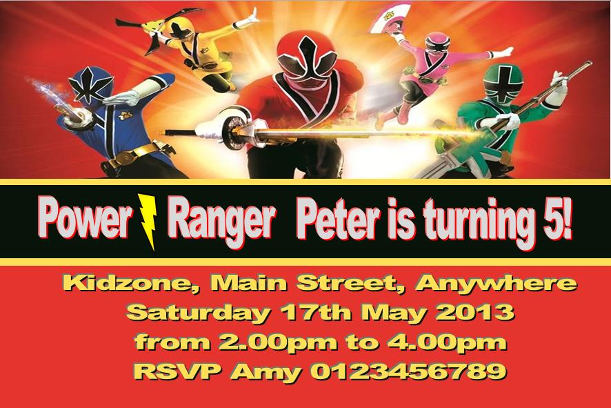 Power Ranger Birthday Invitations Wblqual Com