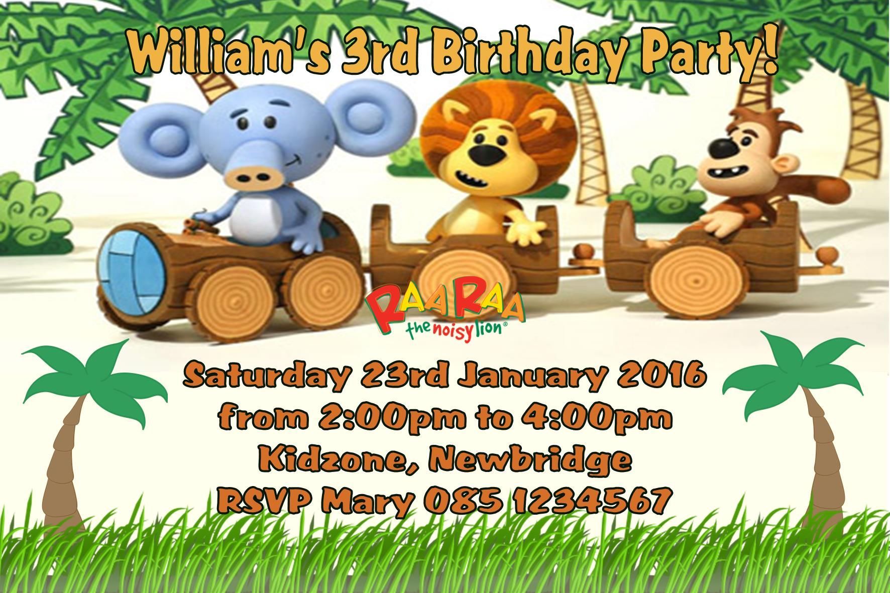 Personalised Raa Raa the Noisy Lion Invitations