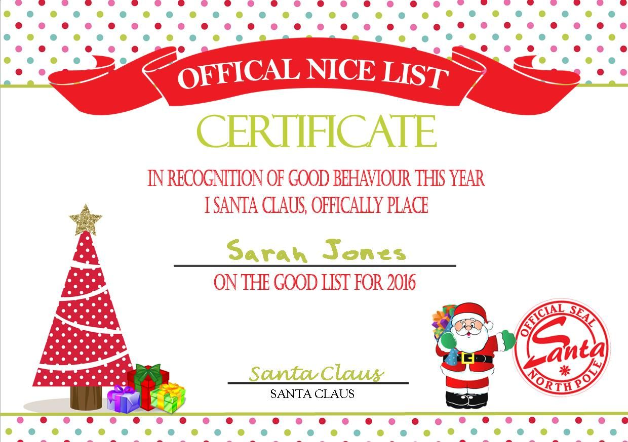 personalised santa s nice list certificate design 5