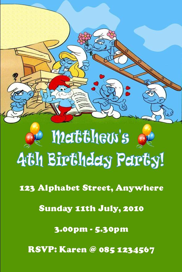 Personalised Smurfs Invitations