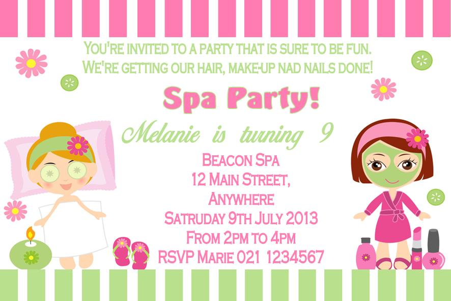 Personalised Spa Pamper Party Theme Invitation – Personalised Party Invites