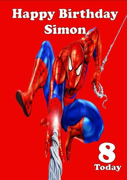 personalised spiderman birthday card, Birthday card