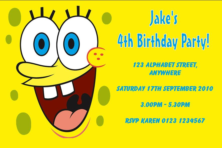 Personalised Spongebob Squarepants Invitations – Spongebob Party Invitations