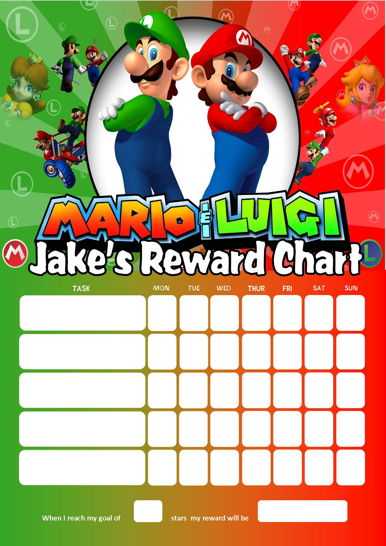 Personalised super mario and luigi reward chart adding photo personalised super mario and luigi reward chart adding photo option available monicamarmolfo Gallery