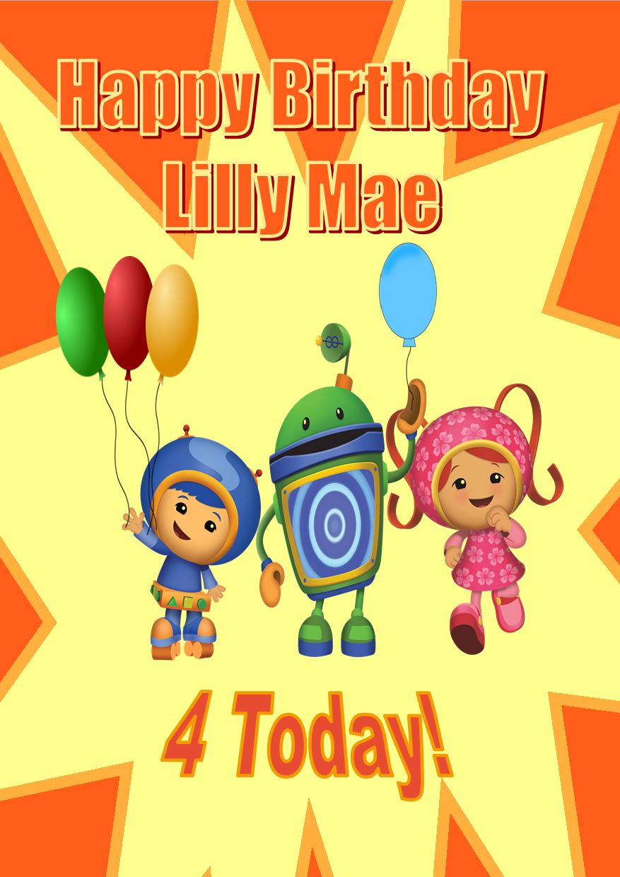 personalised team umizoomi birthday card