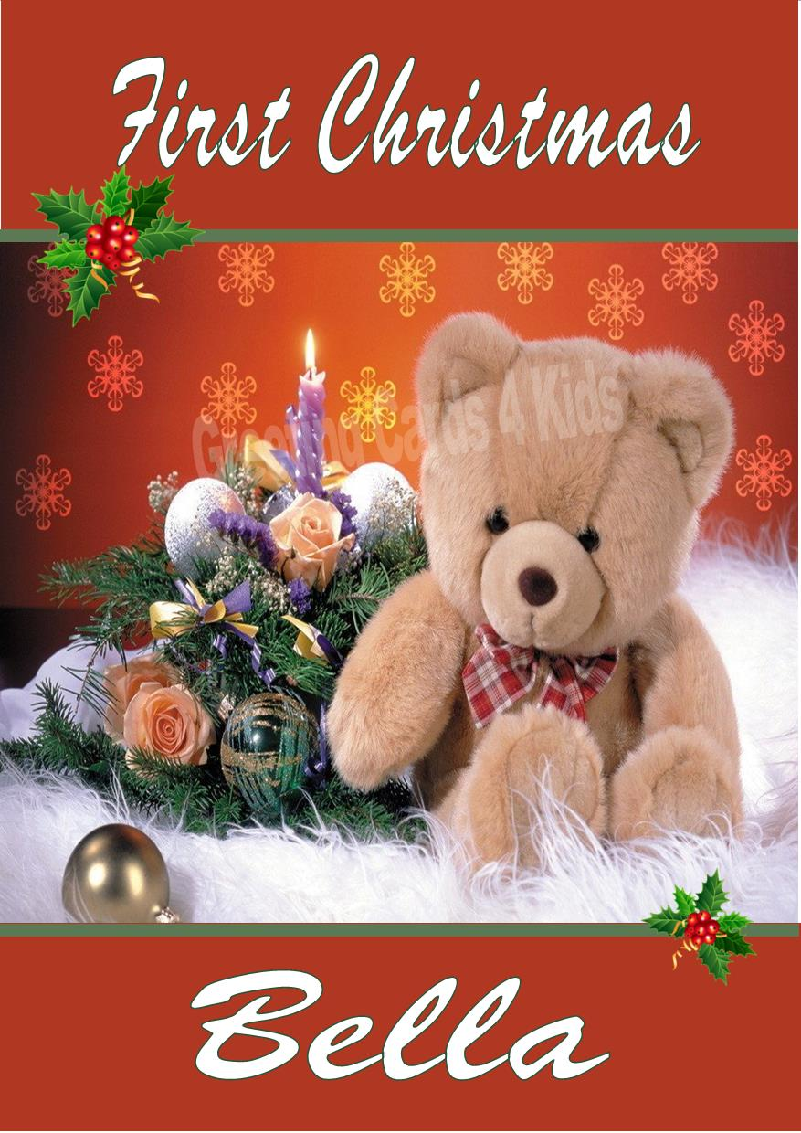 Personalised Teddy Bear Amp Candle First Christmas Card