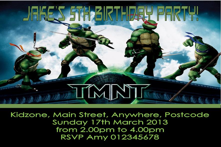 Personalised Teenage Mutant Ninja Turtles Invitations