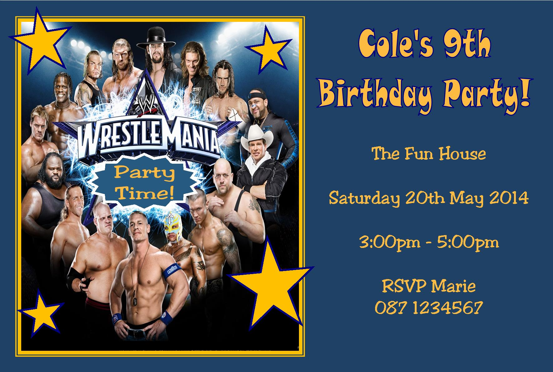 Personalised Wrestlemania WWE Invitations – Wwe Party Invitations