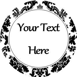 Any Occasion Your Text Stickers Black Damask