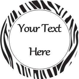 Any Occasion Your Text Stickers Black Zebra Print