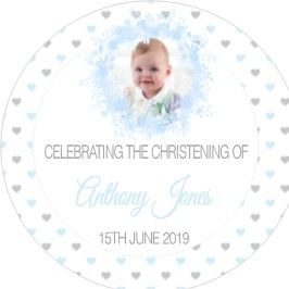 Blue Floral Photo Christening Sticker