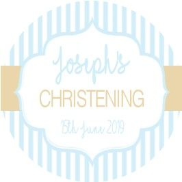 Blue & Gold Stripe Christening Sticker