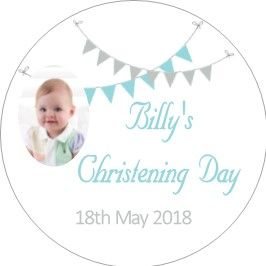 Blue Grey Bunting Photo Christening Sticker