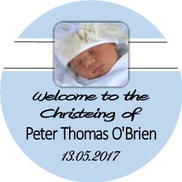 Blue Photo Christening Sticker