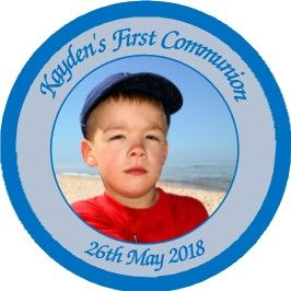 Blue Photo Communion Sticker