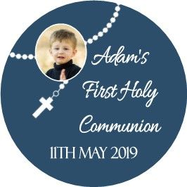 Blue Photo Rosary Beads Communion Sticker