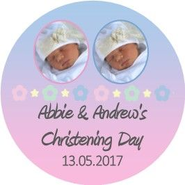 Blue Pink Photo Christening Sticker