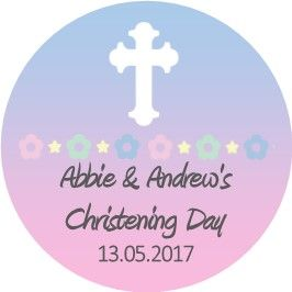 Blue Pink White Cross Christening Sticker