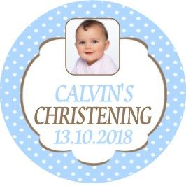Blue Polka Dot Photo Christening Sticker
