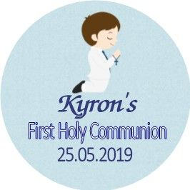 Brown Hair Boy Communion Sticker