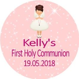 Brown Hair Girl Communion Sticker