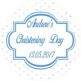 Coloured Blue Christening Sticker