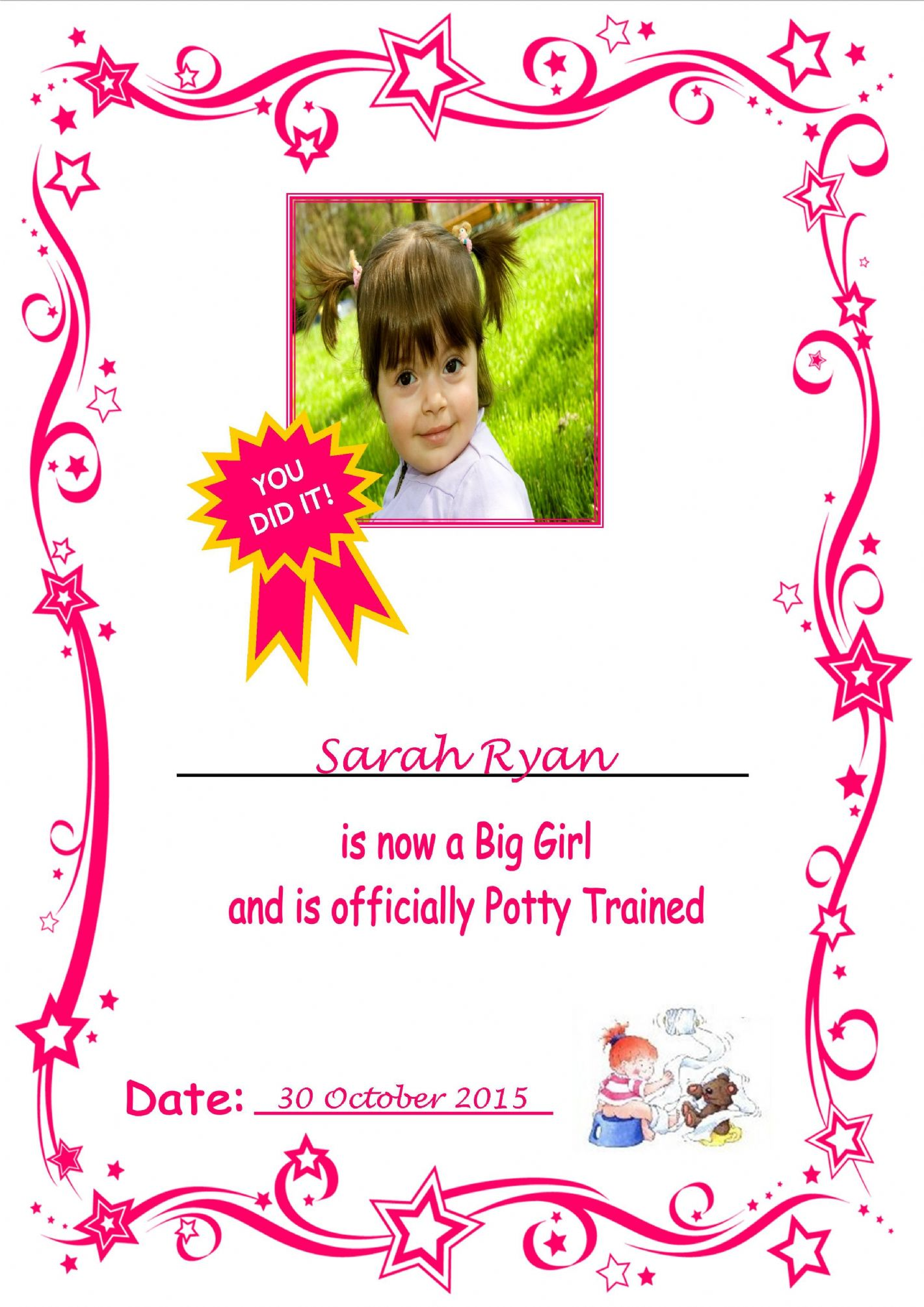 Girl Photo Potty Training Certificate P on Zipper Tooth