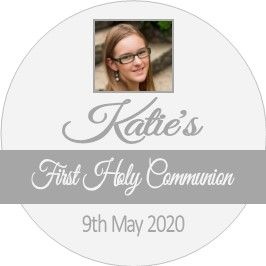 Grey Boy or Girl Photo Communion Sticker