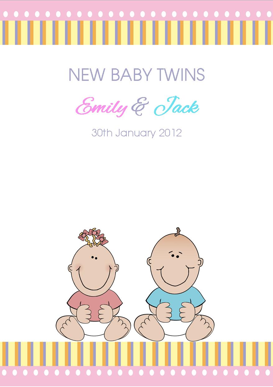New Baby Twins Card Boy Girl Design 1