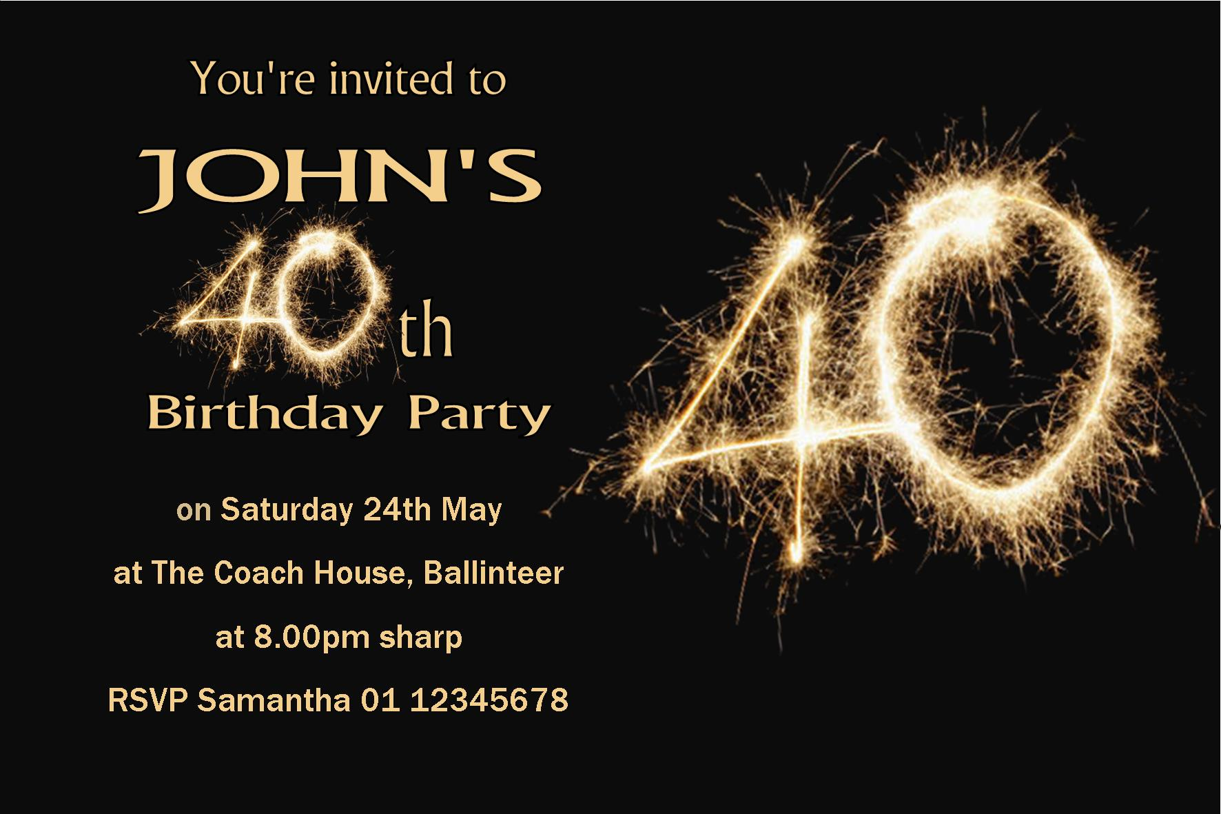 Personalised 40th Birthday Invitation 2222 P