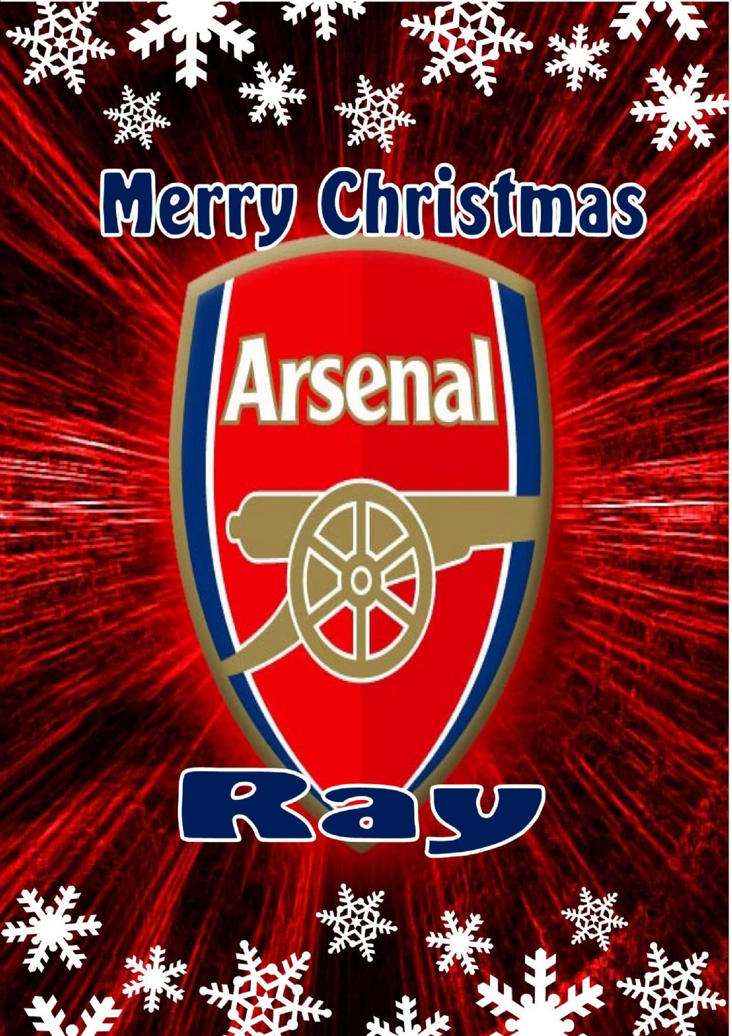 Personalised Arsenal Fc Christmas Card P on Zipper Tooth