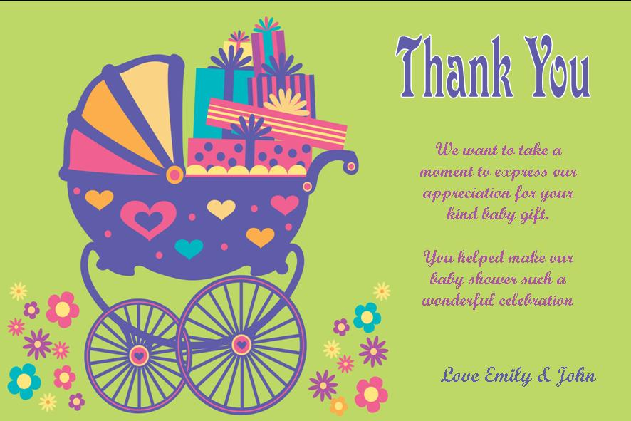 Personalised Baby Shower Thank You Card Design 1