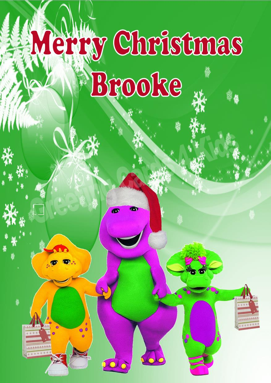 personalised barney friends christmas card