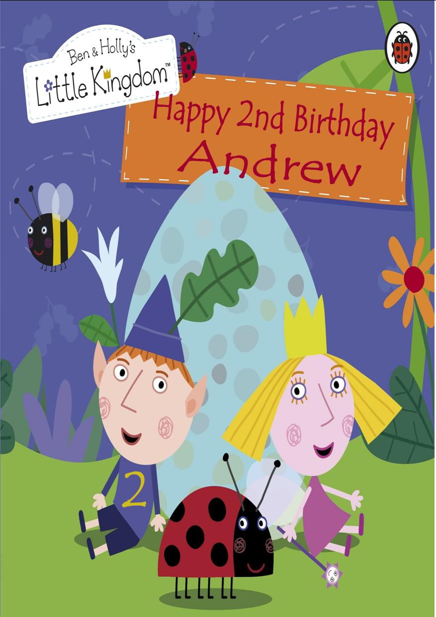 personalised ben and holly s little kingdom birthday card