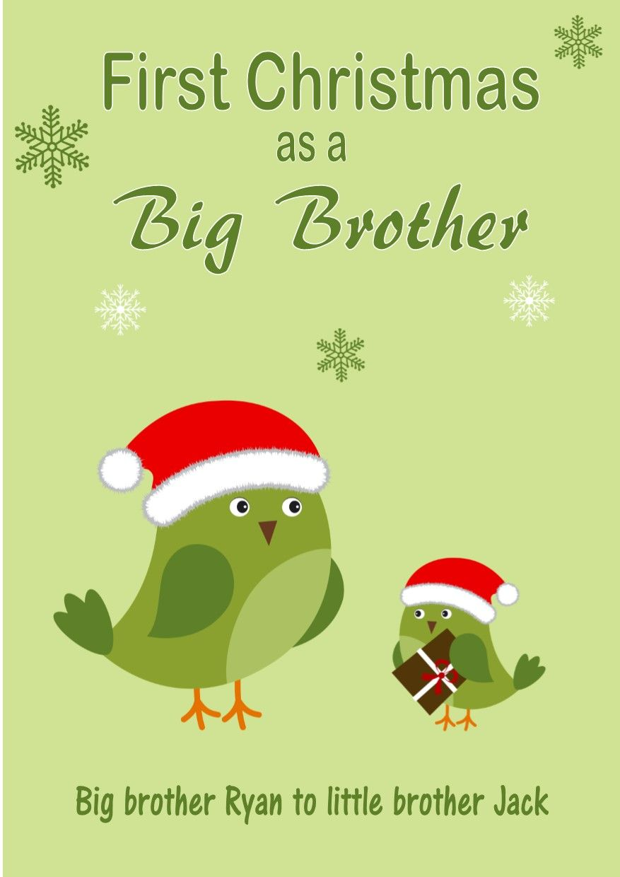 Christmas Greeting Cards Design.Personalised Big Brother To Little Brother Christmas Card Design 3