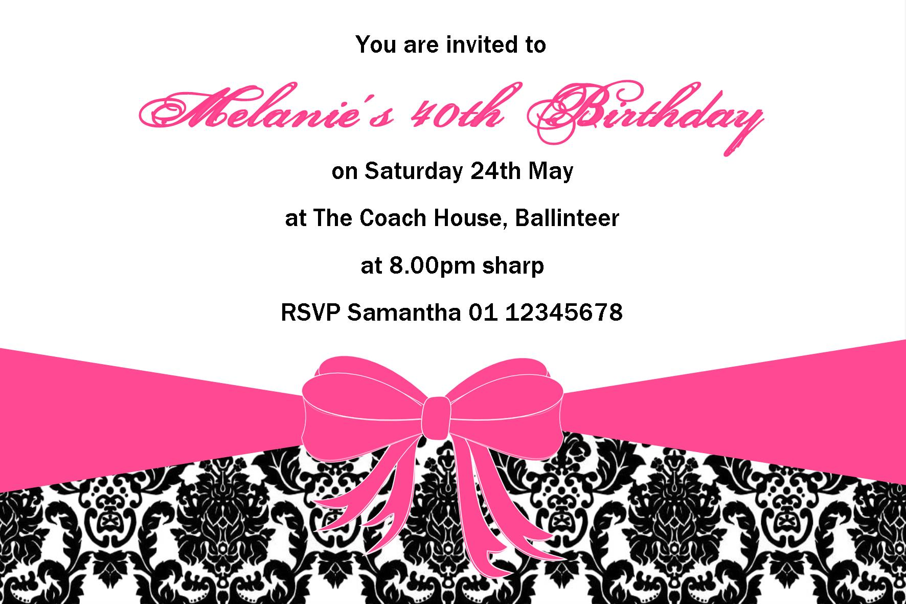 Personalised Birthday Invitation Design 1
