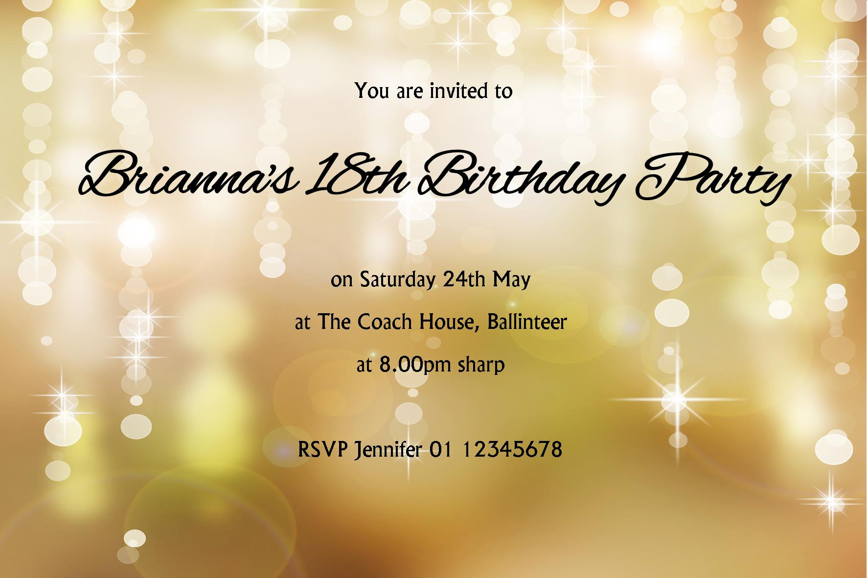 Personalised Birthday Invitation Design 10 2212 P