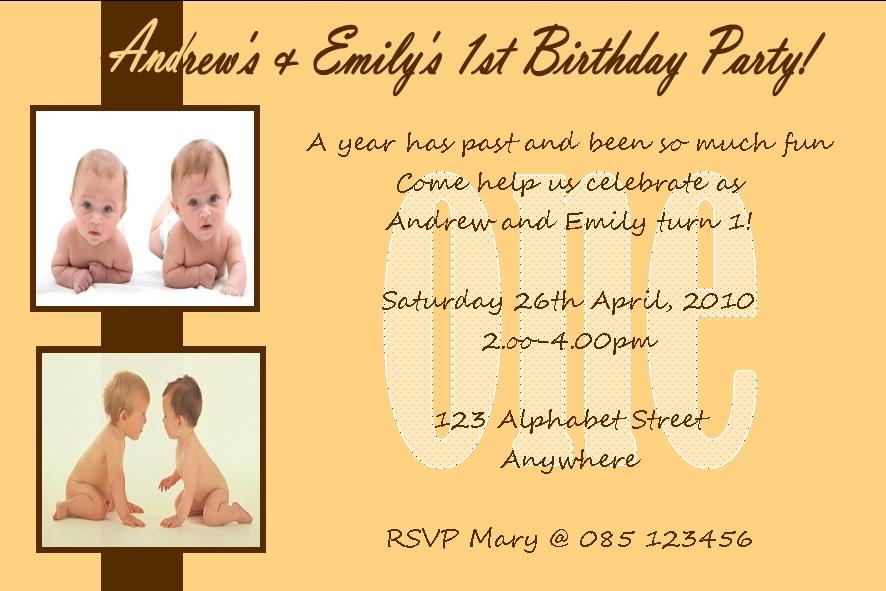 Personalised Birthday Photo Invitations Twins Design 1 198 P